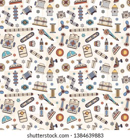Industrial spare parts of machines and mechanisms seamless pattern. Doodle style. Vector illustration.