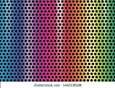 industrial steel plate rainbow perforated, abstract pride polished metal reflect plate texture, iron brush on silver metallic, banner of multi color plate metal on perforated