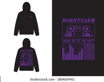 Industrial Street Wear Hoodie Electronic Disharmoni Illustration. Throw Me To the Party