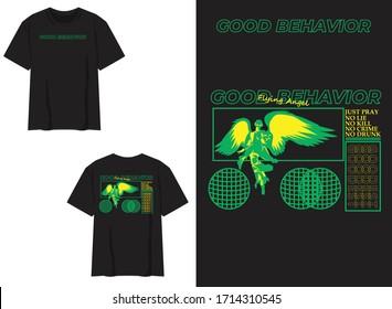 industrial streetwear tshirt good behavior