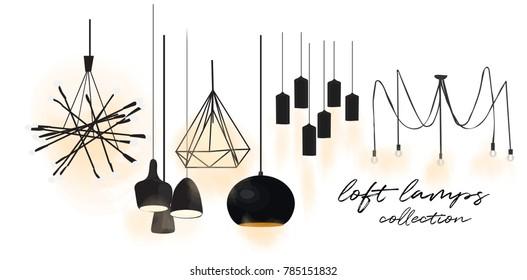 industrial style lamps collection. vector illustration. web site banner. online shop  logo advert. interior design. loft style. designer decor
