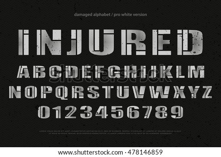 Industrial Stylish Alphabet Letters Numbers Vector Stock Vector