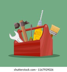 Industrial tools hammer, wrench and screwdriver in the tool box. Stock vector illustration.