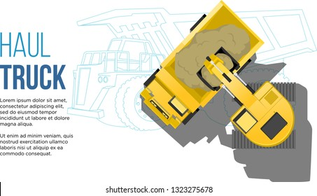 industrial transportation concept haul truck loading from excavator top aerial view with truck Engineering line drawings illustration best for web and presentation