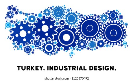 Industrial Turkey map collage of gears. Abstract territorial scheme in blue color tinges. Vector Turkey map is composed of gear wheels. Concept of maintenance workshop.