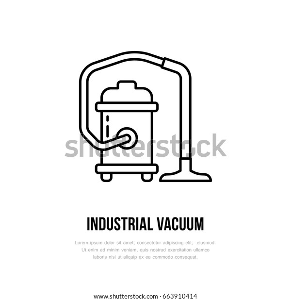 Industrial Vacuum Cleaner Flat Line Icon Stock Vector
