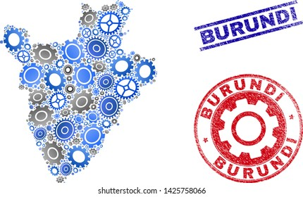Industrial vector Burundi map mosaic and seals. Abstract Burundi map is formed with gradient random gearwheels. Engineering territorial scheme in gray and blue colors,