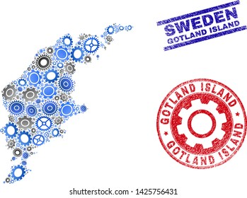 Industrial vector Gotland Island map composition and stamps. Abstract Gotland Island map is organized of gradient random cogwheels. Engineering geographic plan in gray and blue colors,