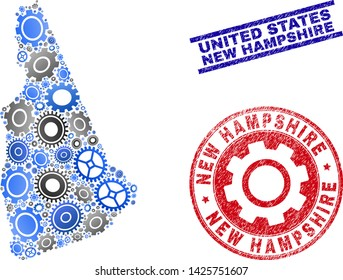 Industrial vector New Hampshire State map composition and seals. Abstract New Hampshire State map is organized from gradiented random gearwheels. Engineering geographic plan in gray and blue colors,