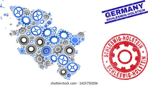 Industrial vector Schleswig-Holstein Land map collage and seals. Abstract Schleswig-Holstein Land map is formed with gradiented scattered cogwheels. Engineering territory plan in gray and blue colors,
