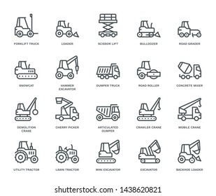 Industrial Vehicles Icons,  Monoline concept The icons were created on a 48x48 pixel aligned, perfect grid providing a clean and crisp appearance. Adjustable stroke weight.