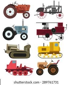 Industrial Vintage tractors vector collection.