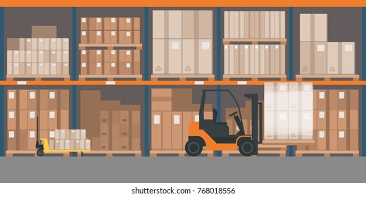 Industrial warehouse interior with goods and pallet trucks, storage and logistics concept