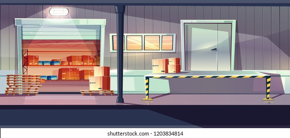 Industrial warehouse service entrances cartoon vector with open roll gates, loading, unloading ramp and boxes on shelves inside illustration. Delivery or retail company storehouse, logistics center