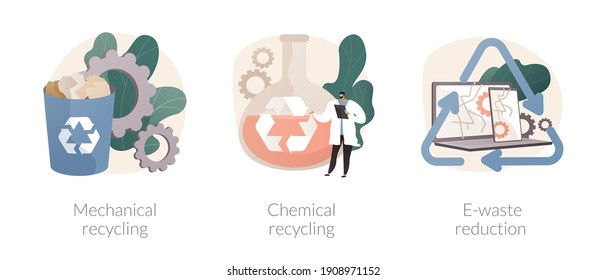 Industrial waste management abstract concept vector illustration set. Mechanical and chemical recycling, e-waste reduction, processing for reuse, trash disposal and utilization abstract metaphor.