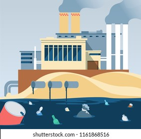 Industrial waste. Polluted dirty water and factory dumping wastewater river. Factory wastewater and garbage, muddy and ugliness pollution illustration vector