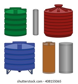 Industrial water tanks set, different color. Vector illustration