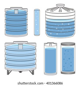 Industrial water tanks set. Vector illustration