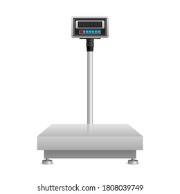Industrial weighing scales illustration -   scale for various shipping and production packaging - isolated vector picture