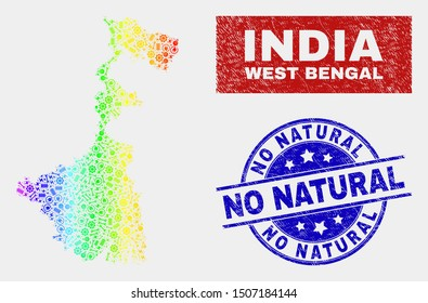 Industrial West Bengal State map and blue No Natural scratched seal stamp. Colorful gradient vector West Bengal State map mosaic of mechanics. Blue rounded No Natural stamp.