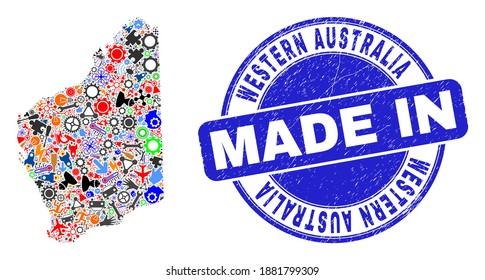 Industrial Western Australia map mosaic and MADE IN textured seal. Western Australia map mosaic created from wrenches, gearwheels,instruments,,keys,vehicles,power sparks,details.