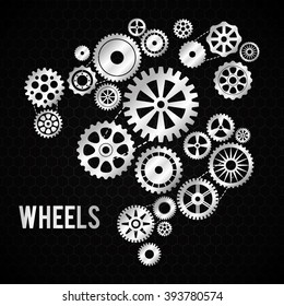 Industrial wheel with back and white colors, vector illustration