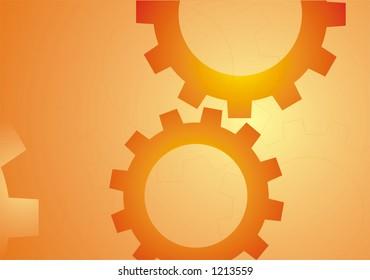 Industrial wheels illustration on orange background