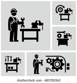 Industrial work vector icons set