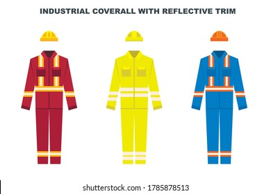 Industrial work wear coverall with reflective trim and protective helmet. Construction worker uniform color types. Vector illustration.