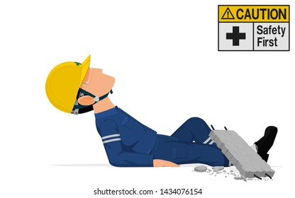An industrial worker is crushed  by the concrete block.