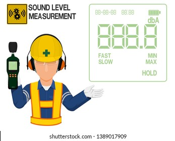 An Industrial worker with earmuffs is presenting display screen of the sound level meter