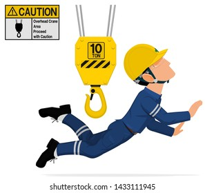 An industrial worker is hit  by the crane on transparent background