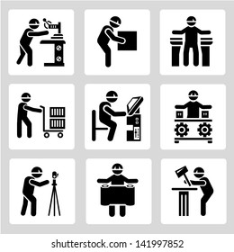 industrial worker icons set, technician people set