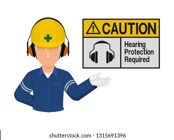 Industrial worker is presenting hearing protection warning sign