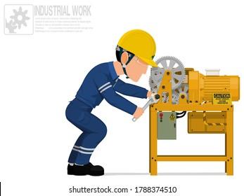 An industrial worker is repairing machine