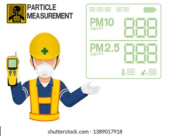 An Industrial worker with respirator is presenting display screen of the gas detector