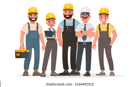 Industrial workers. Team of builders. Engineer, technician and workers of different professions. Labor Day. Vector illustration in cartoon style