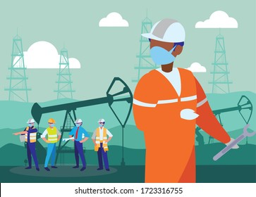 Industrial workers working with face mask vector illustration design