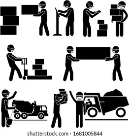 Industrial Working Process During Corona Virus Pandemic Quarantine. Stick Figure Pictogram Icon. Vector Illustration