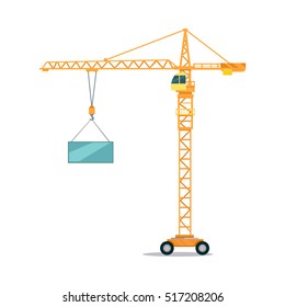 Industrial yellow crane operating and lifting generator. Modern truck crane with an upper cabin and on wheels elevating heavy glass element. White background. Flat design. Vector illustration.