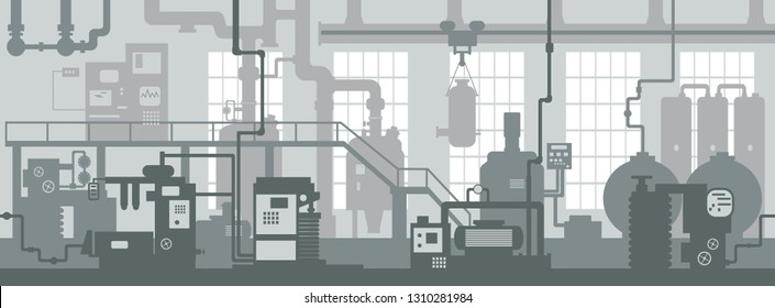 Industrial zone. Factory manufacturing industrial line plant scene interior background. Art design the silhouette of the industry