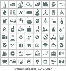 Industrial,energy,building and natural icon set,vector