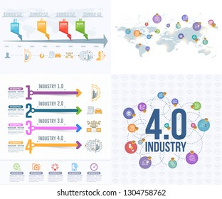 Industry 4 and Chronology Infographics Elements. Business Control, Modern Thin Line Icon Presentation Design. Vector Internet of Things, Data Network, Future, Automation Illustration Set