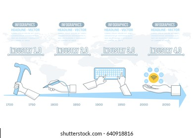 Industry 4 Concept Flat Web Infographics Elements