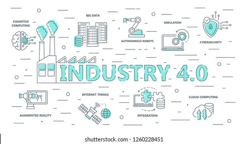 Industry 4.0 Background. Flat Design. Vector Illustration.