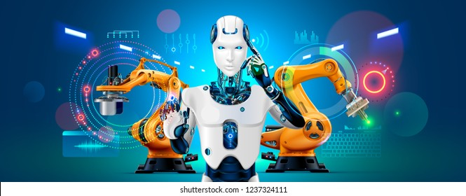 Industry 4.0 concept banner. Robot with AI control production line on smart factory. Cybernetic Artificial intelligence automates the production process and communications with robotics arms.