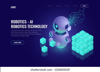 Industry 4.0 concept, big data isometric robotics technology, automating the process with a robot, organize and sort data, 3d vector dark background