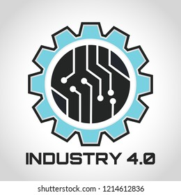 Industry 4.0 Concept Business Control or Logo, World Factory and Wheel Eclectic, Cyber Physical Systems concept,smart factory logo.- Vector illustration