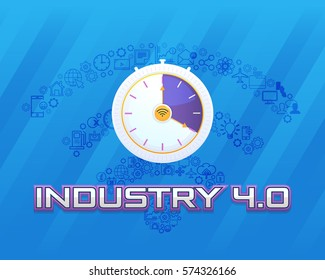 Industry 4.0 Concept Business Control, Clock Icon Presentation Design. Internet of Things, Cloud Computing, Wireless and Network, Future, Automation Illustration Symbol Template