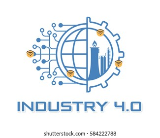 Industry 4.0 Concept Business Control or Logo, Modern Thin Line Icon Presentation Design. Internet of Things, World, Factory and Wheel Eclectic Illustration. Flat Web Infographics Elements